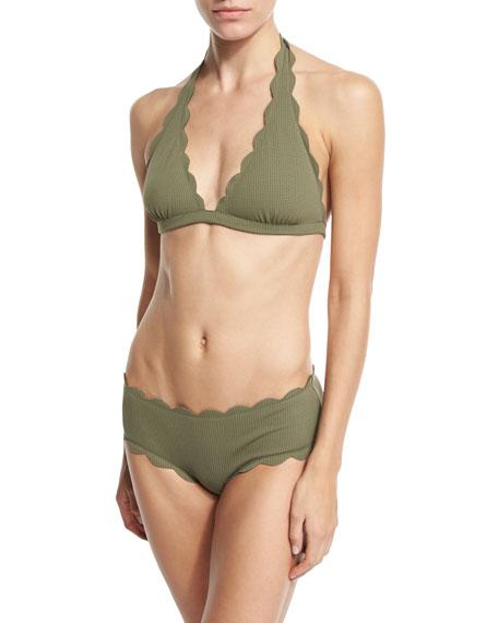 Spring Scalloped Boy-Cut Bikini Swim Bottom