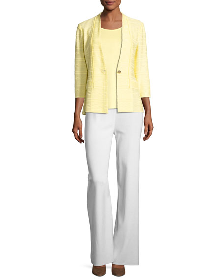 Textured One-Button Jacket, Yellow, Plus Size