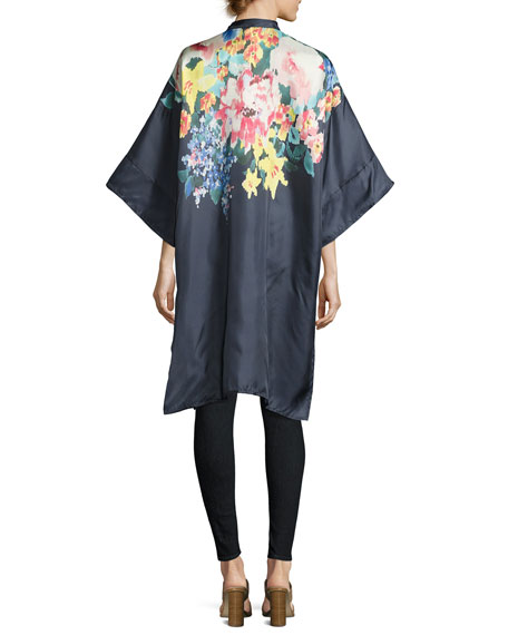 Malani Floral-Print Button-Front Long Tunic, Navy