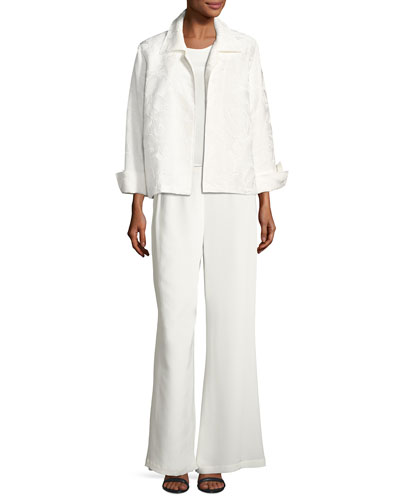 Jasmine Floral Jacquard Jacket, White, Petite  and Matching Items
