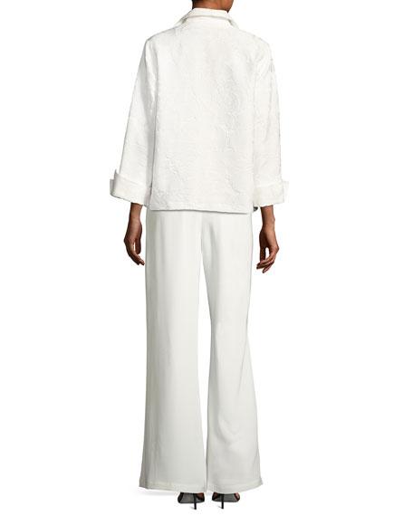 Jasmine Floral Jacquard Jacket, White, Plus Size
