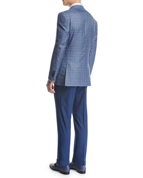 Flat-Front Wool Trousers, Blue