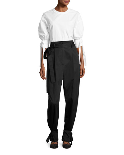 Sateen Belted High-Rise Paperbag Trousers, Black and Matching Items