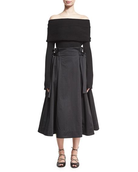 Off-the-Shoulder Banded Pullover, Black