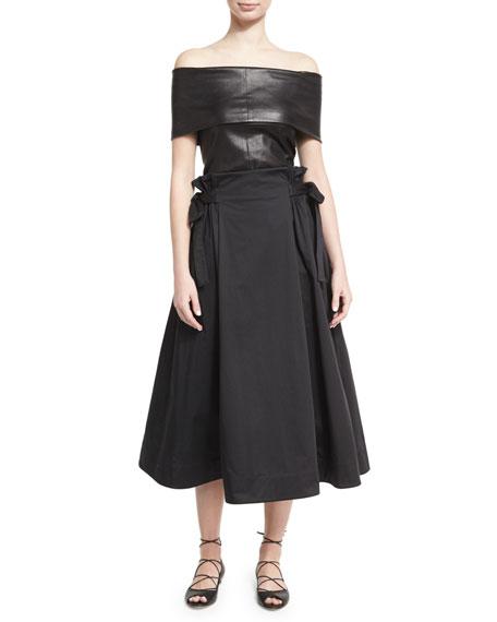 Sateen Tie-Side A-Line Midi Skirt, Black