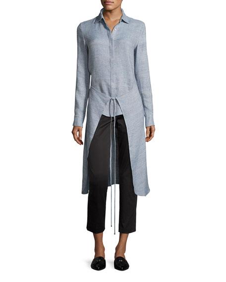 Mélange High-Low Apron Wrap Shirt, Sky
