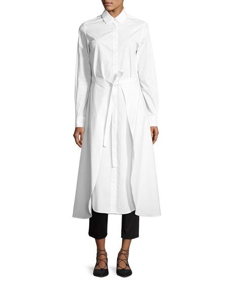 Poplin Apron-Wrap Shirtdress, White