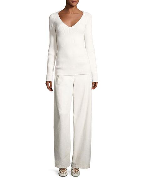 Werto Cotton Wide-Leg Pants, White