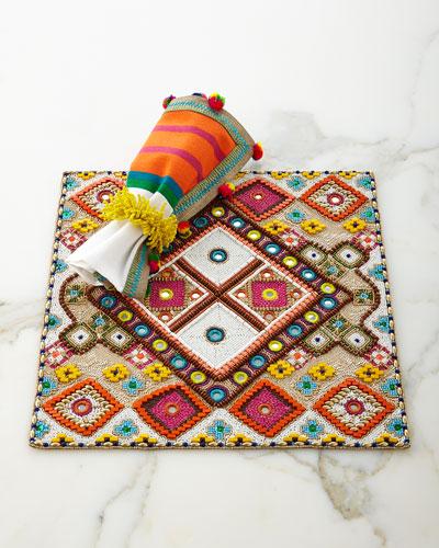 Luxor Placemat, Jaipur Pompom Napkin, & Carnival Napkin Ring