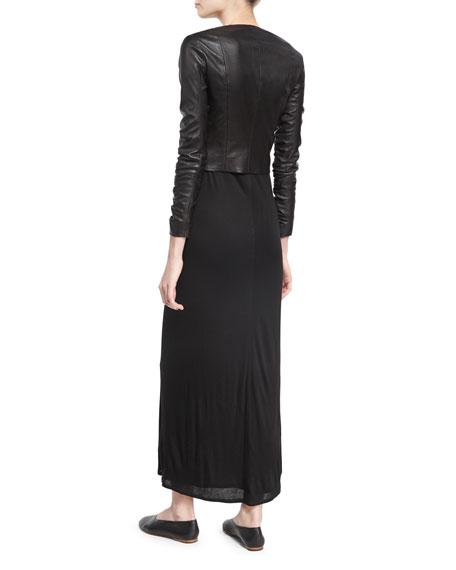 Melen Viscose Jersey Short-Sleeve Maxi Dress, Black