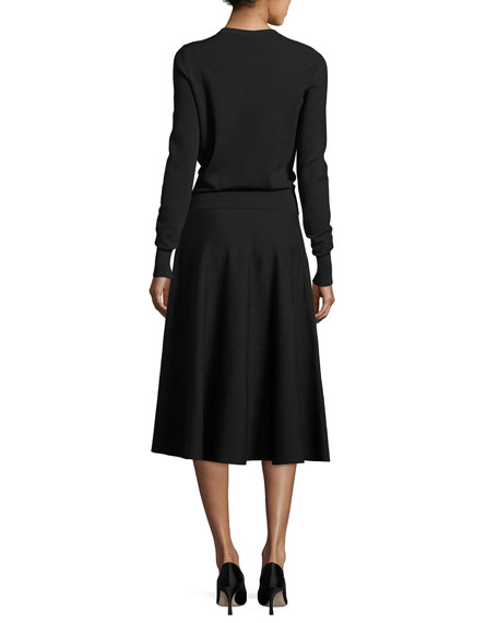 THE ROW Alessia Wool A-Line Midi Skirt, Black and Matching Items
