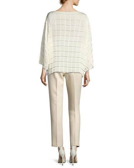 William Single-Pleat Straight-Leg Pants, Light Beige