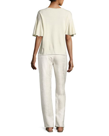 Paco Textured Silk Drawstring Pants, Off White