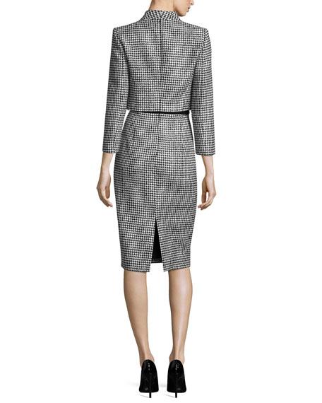 Wool Jacquard Houndstooth Bolero Jacket, Black/White