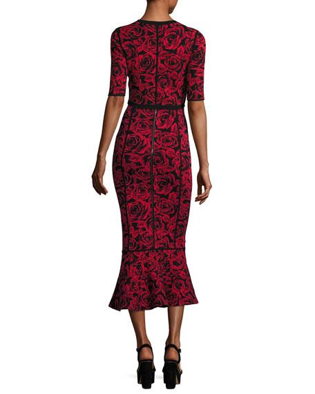 Floral Jacquard Shrug Cardigan, Red/Black