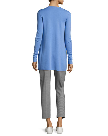 Long Cashmere V-Neck Cardigan, Blue