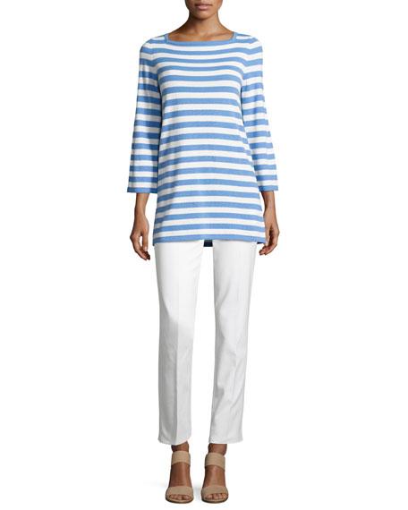 Broadcloth Straight-Leg Pants, White