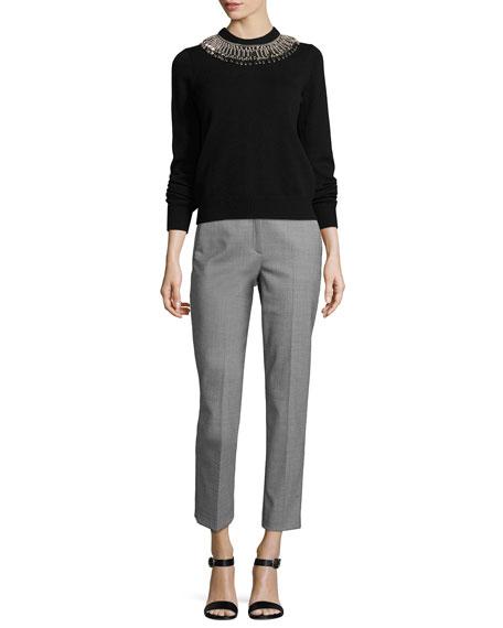 Samantha Mini-Houndstooth Cropped Pants, Black/White