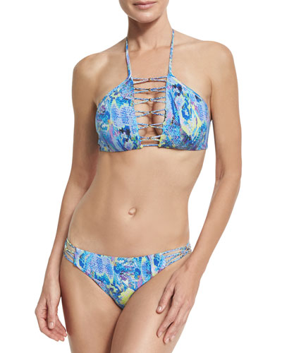 High-Neck Braided Swim Top, Blue and Matching Items