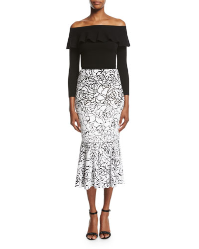 Rose Paillettes Trumpet Skirt, Black/White and Matching Items