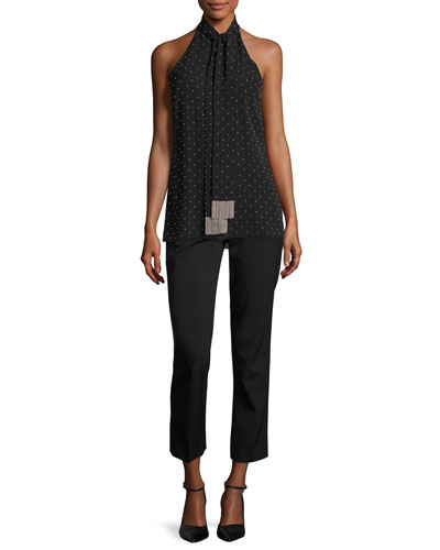 Beaded Silk Sleeveless Tie-Neck Top, Black/Silver and Matching Items