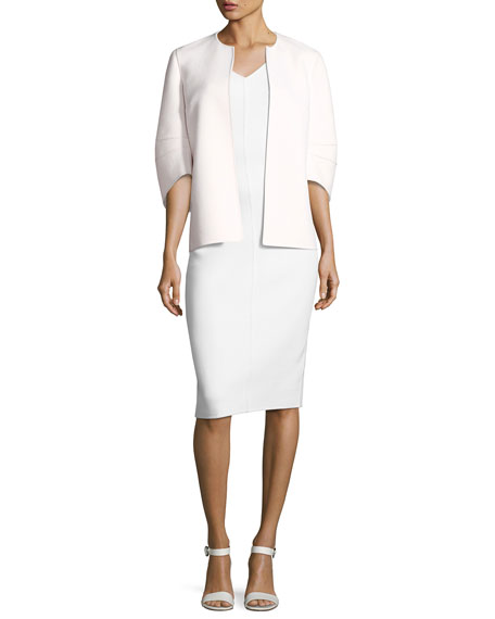 Cookie Collarless Short Jacket with Articulated Sleeve, White