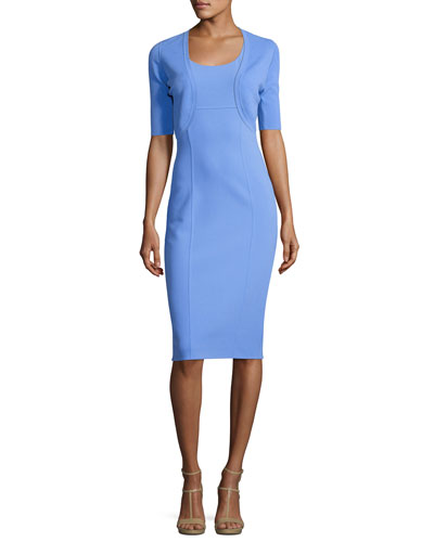 Sleeveless Virgin Wool Sheath Dress, Blue and Matching Items