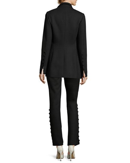 Demilla Two-Button Stretch-Wool Jacket, Black