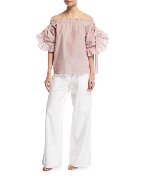 Cotton-Linen Wide-Leg Pants