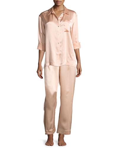 Silk-Satin Pajama Top, Light Pink and Matching Items