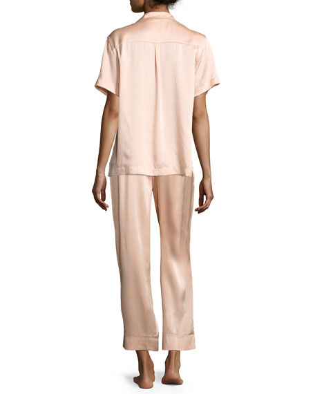 Modern Silk-Satin Pajama Pants, Light Pink