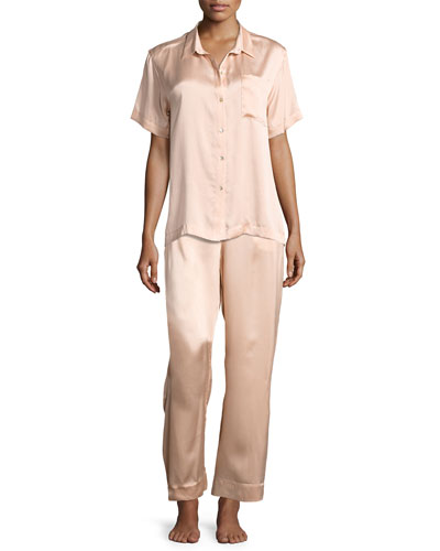 Modern Silk-Satin Pajama Pants, Light Pink and Matching Items