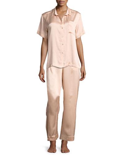 Modern Silk-Satin Pajama Pants, Light Pink and Matching Items