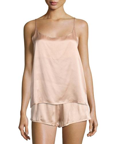 Silk-Satin Pajama Shorts, Light Pink and Matching Items