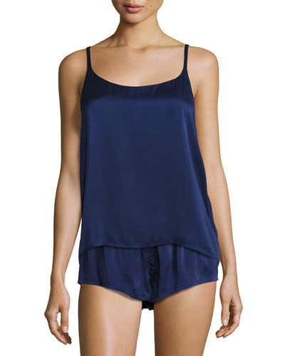 Modern Silk-Satin Camisole, Navy and Matching Items