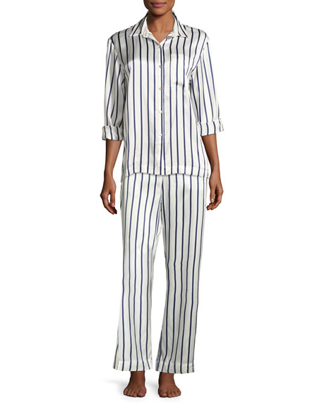 Striped Silk-Satin Pajama Top, Blue Pattern