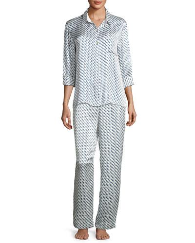 Arrow-Print Silk-Satin Pajama Top, Blue Pattern and Matching Items