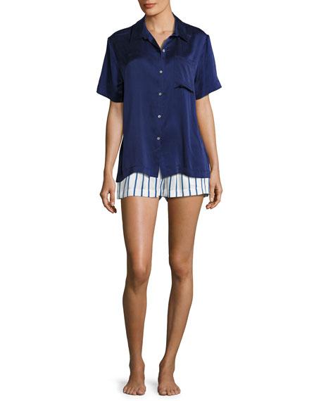 Silk-Satin Pajama Top, Navy