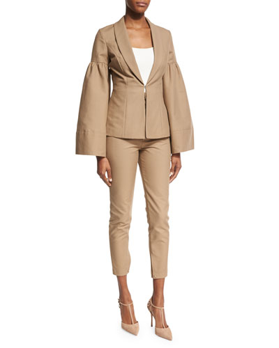 High-Waist Sailor-Button Cropped Skinny Pants, Camel and Matching Items