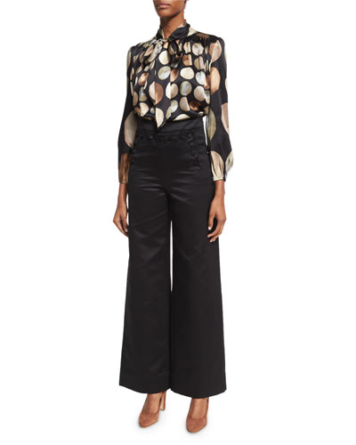 Structured Sateen Cropped Pants, Black and Matching Items