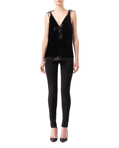 Gemme Velvet & Satin Tie-Shoulder Top, Black and Matching Items