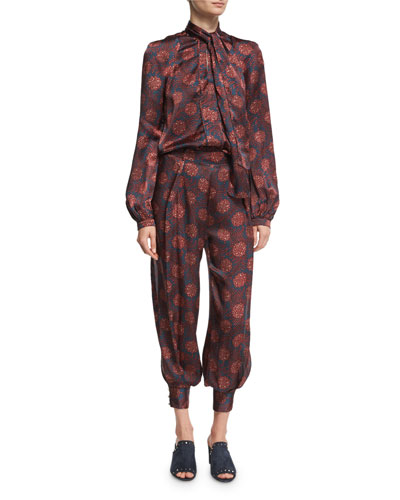 Alice Maritime-Print Silk Harem Pants, Purple and Matching Items