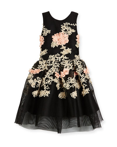 Mila Sleeveless Pleated Floral Mesh Dress, Black