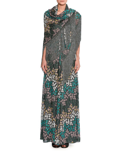 Lurex® Metallic Sleeveless Keyhole Gown, Green and Matching Items