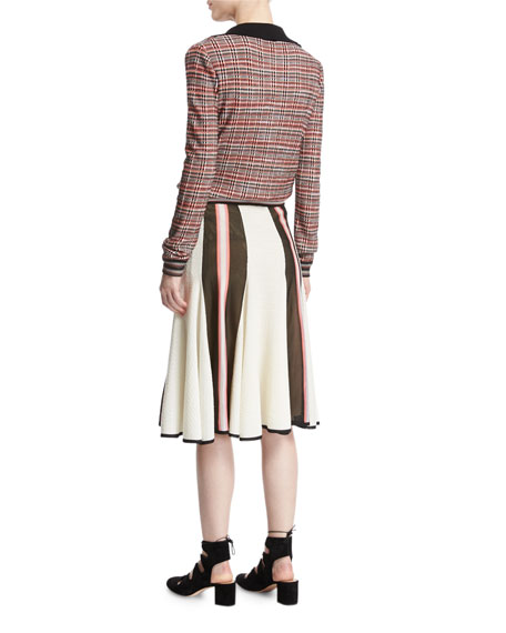 Colorblock Flared Midi Skirt, White