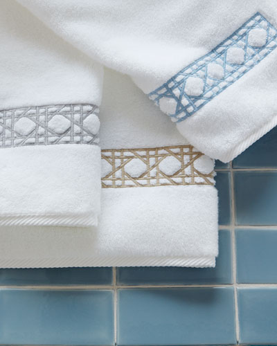 Cane-Embroidered Bath Towels