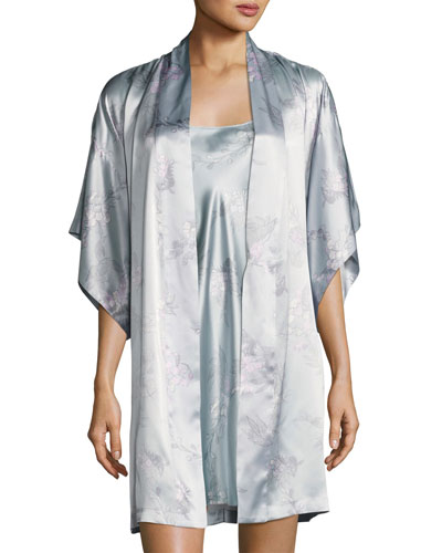 Wisteria Floral-Print Silk Wrap Robe, Blue Pattern and Matching Items