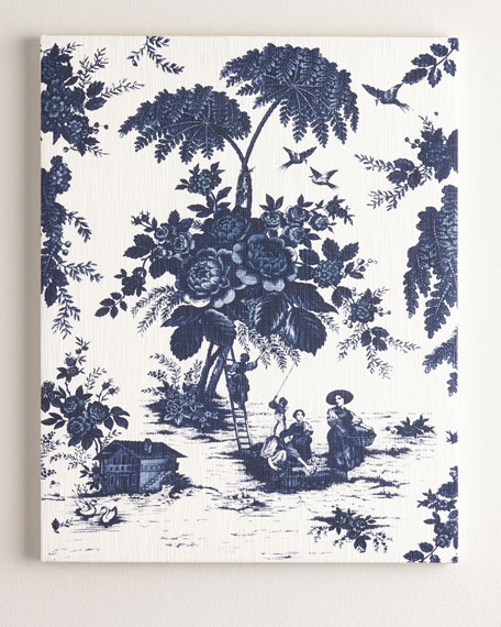 """Blue Toile"" Print on Canvas, 52""T"