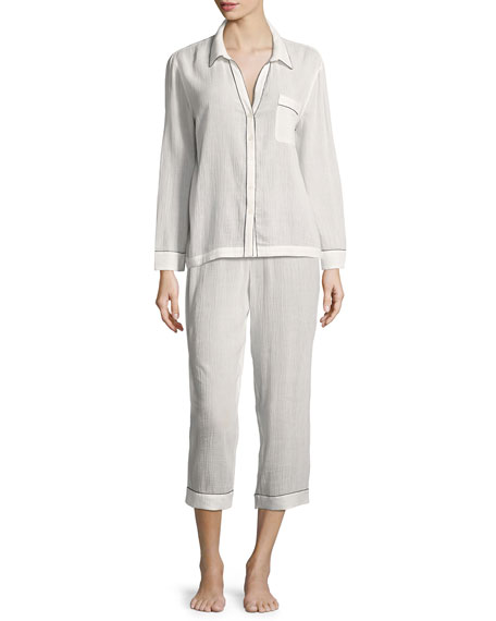 Long-Sleeve Piped Pajama Shirt, White