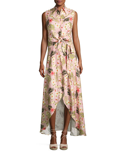 Ballerina Printed Long Wrap Linen Skirt, Pink and Matching Items